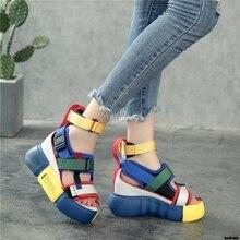 Босоножки на платформе; женская обувь; коллекция года; сезон лето; женская повседневная обувь на очень высоком каблуке; босоножки на танкетке; модные сандалии-гладиаторы с высоким берцем