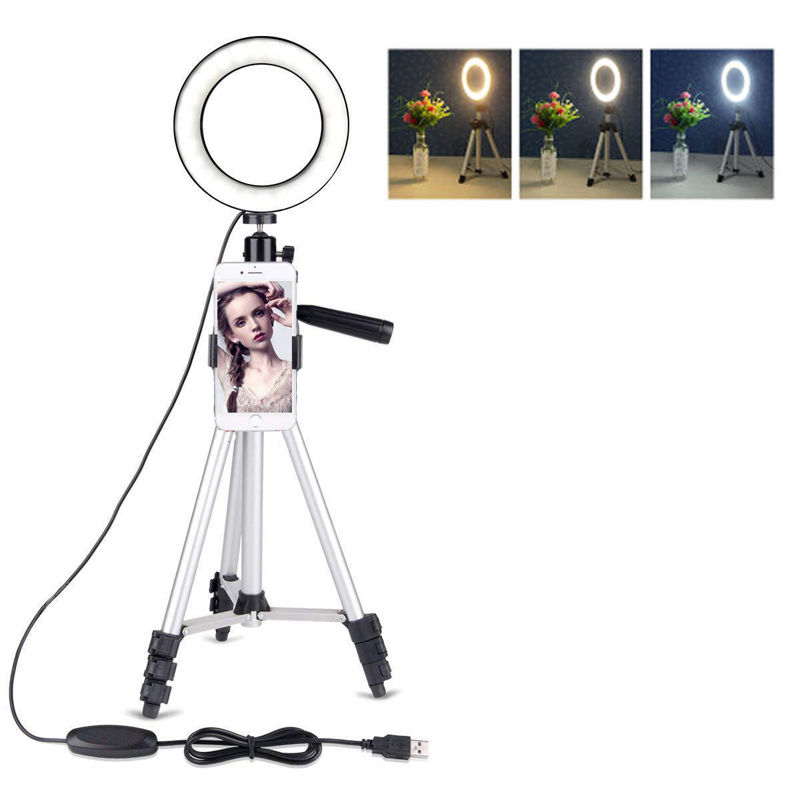 Photo Studio Video LED Beauty Ring Light Phone Photography Dimmable Ring Lamp+Tripod For Selfie/Live Show/Fill-in Light