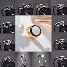 Cute Heart Stainless Steel Rings For Lovers' Gift Kawaii Rhinestone Bow-Knot Adjustable Copper Ring Christmas Xmas Party Jewelry(China)