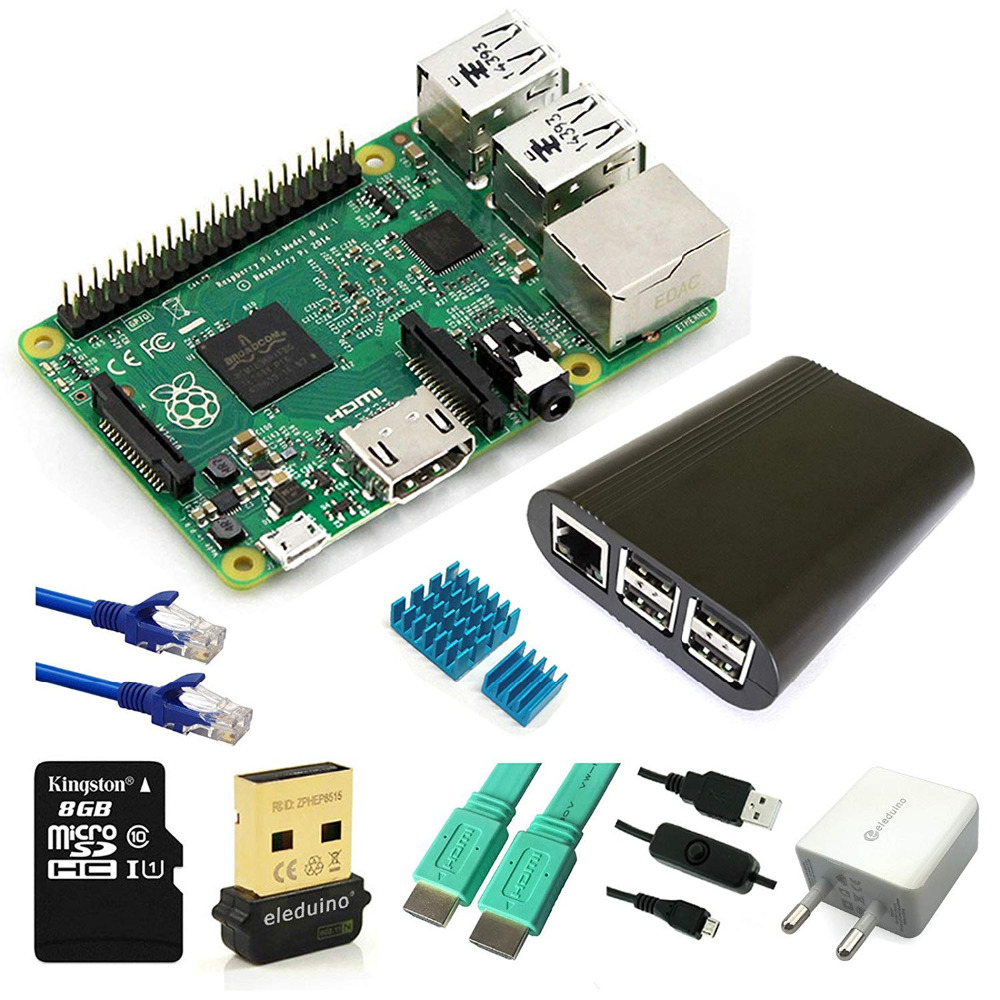 Raspberry Pi 2 model B Start Kit/Case/Wifi/SD Card/HDMI /Heatsink/5V2A adapter/On/off Switch Cable/RJ 45 Network Cable/MainBoard