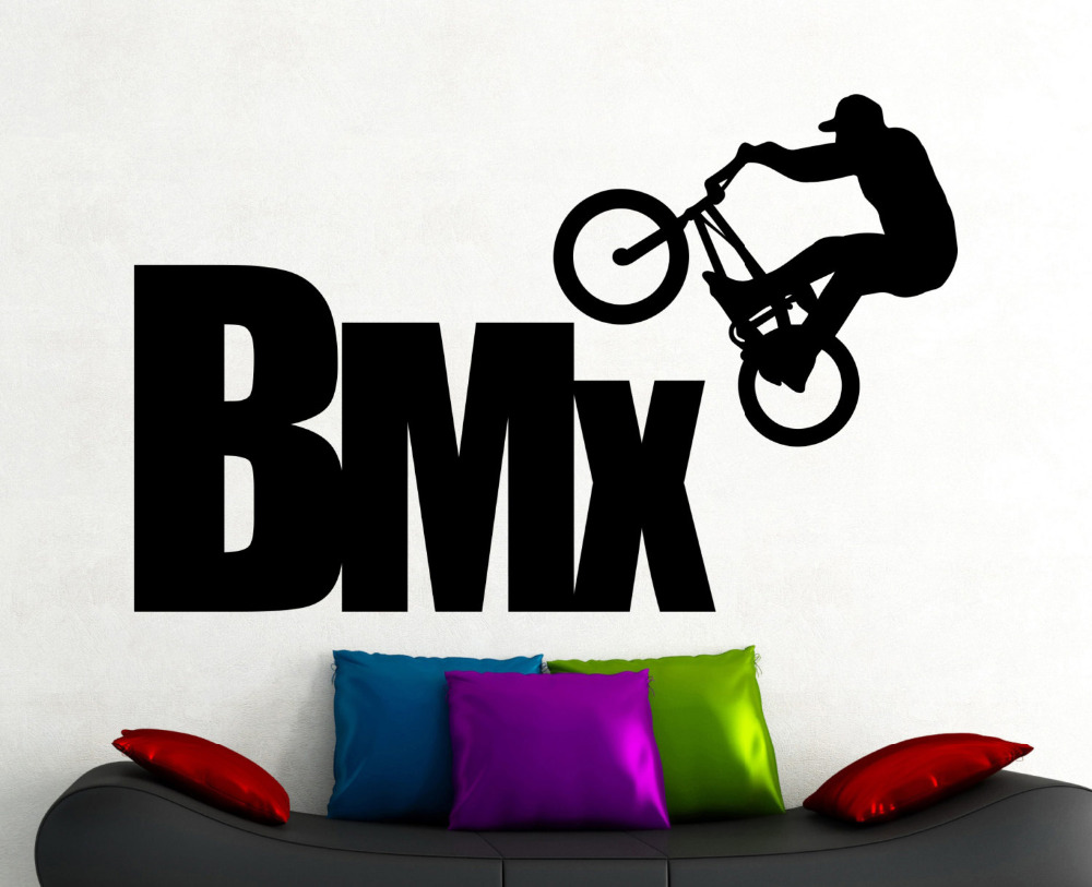 BMX Wall Sticker Extreme Sports Decals Freestyle Jumping Living Room Decor Boys Room Wall Art Mural Waterproof Stickers A161 ...