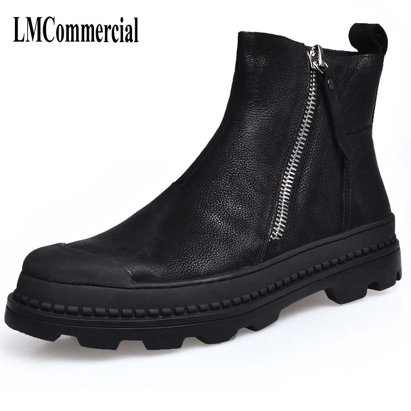 The winter men s Riding leather boots British style high shoes for men with cashmere warm