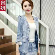 New 2016 Spring Women Outerwear Slim Lace Patchwork Long-Sleeve Denim Short Jacket Lady Vintage Jeans Jacket Coat A3495