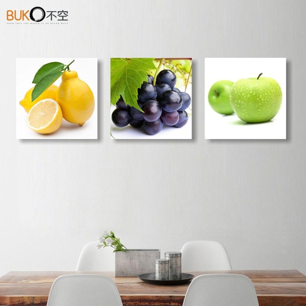 3 panel printed restaurant fruits orange grape green apple for Plaque decoration cuisine