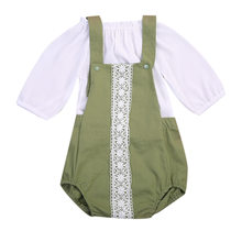 2Pcs Baby Boys Girls Army Freen Lace Romper + Long Sleeve Shirt Kids Tracksuit Outfits(China)