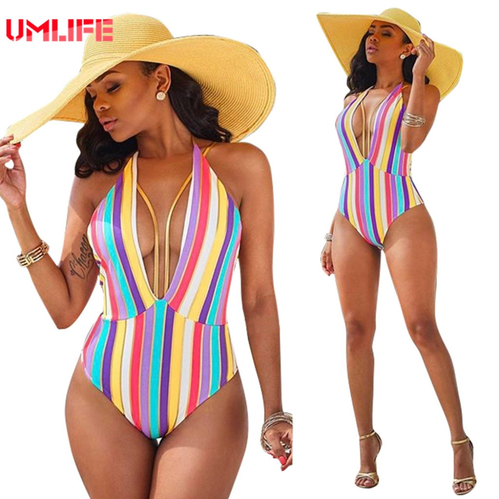 African Swimwear One Piece Vertical Stripe Swimsuit Women Sexy Monokini Bathing Suits Large Size Swimsuits maillot de bain femme ruffle swimsuit large size swimwear one piece deep v neck strappy bathing suit women maillot de bain femme 2017 une piece