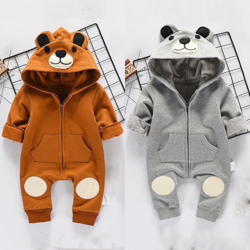 Cute Bear Newborn Infant Baby Boy Girl Kid Ear Hooded Romper Zipper Cartoon Patchwork Jumpsuit Clothes Outfit For 0-24M