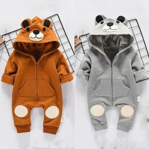 Urso bonito Do Bebê Recém-nascido Menino Menina Miúdo Ouvido Romper Com Capuz Zipper Dos Desenhos Animados Patchwork Jumpsuit Roupas Outfit Para 0-24 M