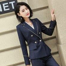 9d17093f53 2018 outono elegantes Mulheres de Negócios 2 peça entrevista terno definir  uniforme Longo-sleeved stripe Blazer e Calça Senhora .