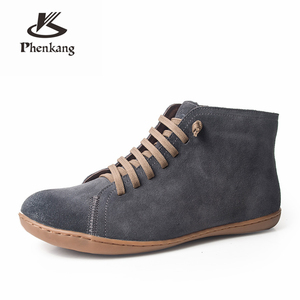Image 5 - Men winter Boots Genuine leather cow suede casual ankle boots Comfortable quality soft handmade flat Shoes black brown with fur