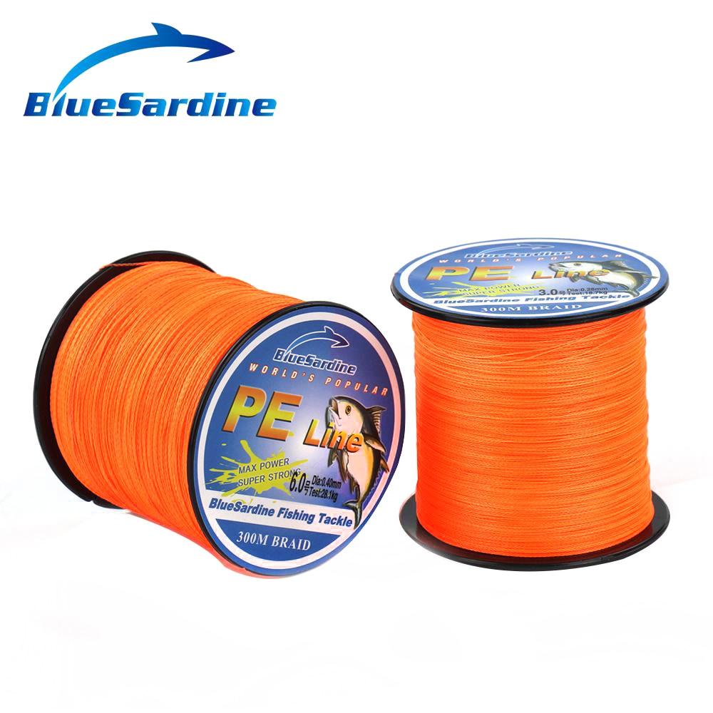 BlueSardine Orange 300M Multifilament Pletené Rybářské Lano Silné Prýmky Japonské Rybářské Dráty 12LB - 90LB Rybářské Potřeby