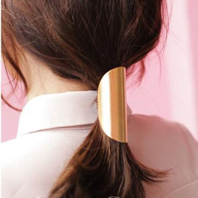 2017 New Arrival Hairbands Trendy Fashion Metal Hair Cuff Band Ties Elastic For Ponytail Holders Accessories For Women Hot Sale