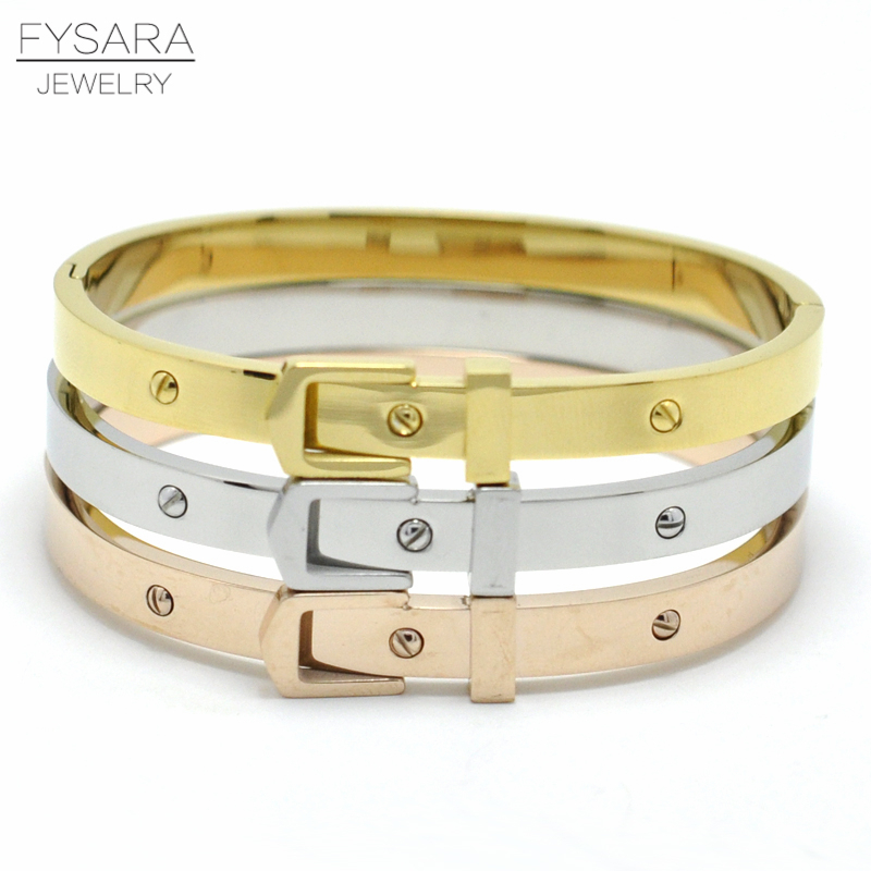 FYSARA Love Screw Lock Bracelets & Bangles Women Jewelry Stainless Steel Belt Buckle Bracelets Rose Gold Noeud Armband Pulseras