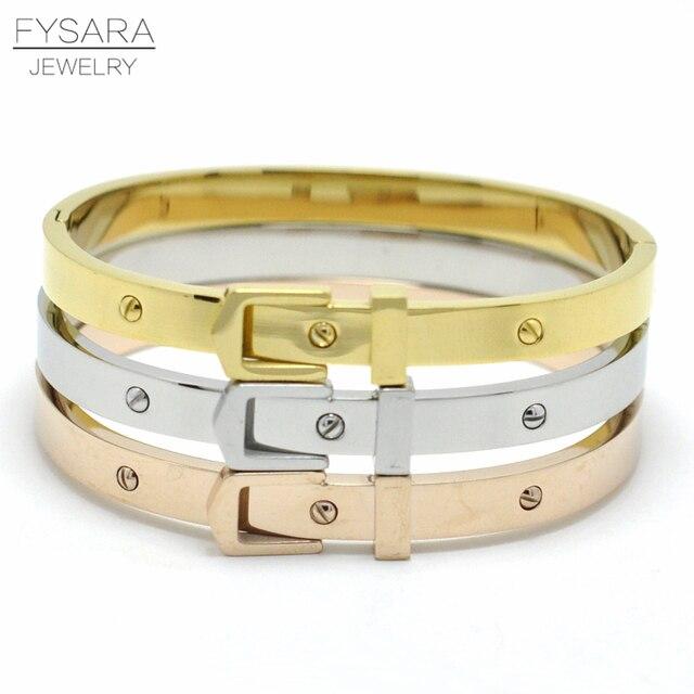 Fysara Lover Lock Bracelets Bangles Women Jewelry Stainless Steel Belt Buckle Rose Gold