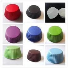 100 шт., фиолетовая/белая/черная/зеленая/темно-синяя/красная/коричневая бумага, однотонный чехол с капкейком