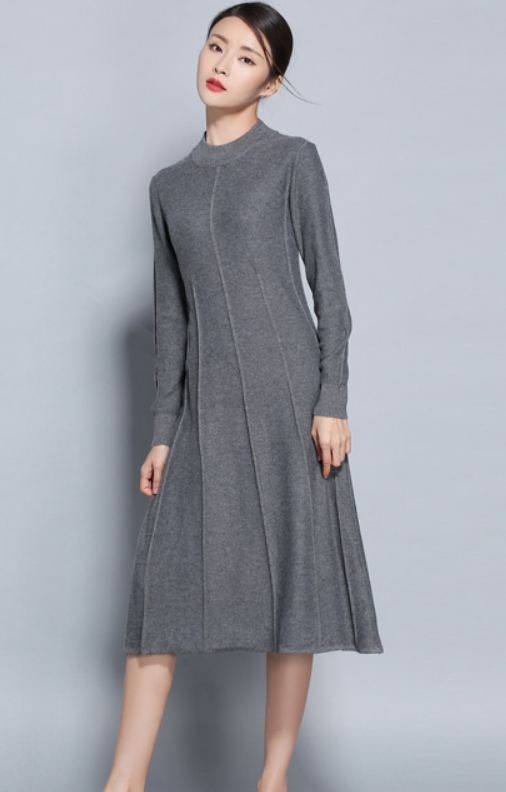 Hot Sale Women Dress Cashmere Blend Knitting Dresses Winter Warm Oneck Woman Knitwear Longer Woolen Woman's Gown Girls Clothing