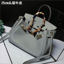 Women Litchi grain Leather bag Real Genuine leather Handbags Woman Vintage Hand bag Brands Ladies Shoulder Top Handle Bags
