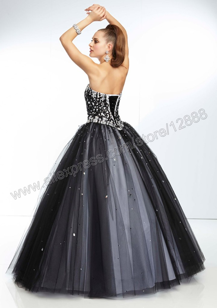 f964be91bc Laser Cut Embroidery with Beading on Tulle Ball Gown Black and Pink Princess  Prom Dress 2014-in Prom Dresses from Weddings   Events on Aliexpress.com ...