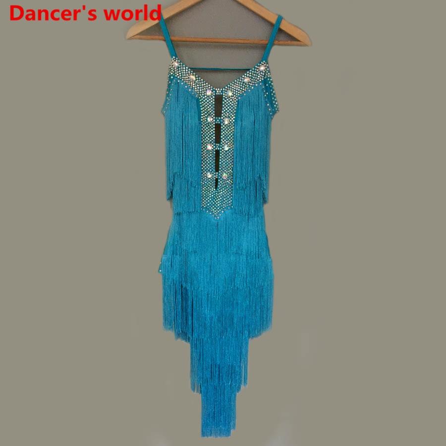 Personnalisable couleurs gland Latin danse robe femmes danse robe Latino femmes Costumes pour danse femmes latine danse robe Salsa