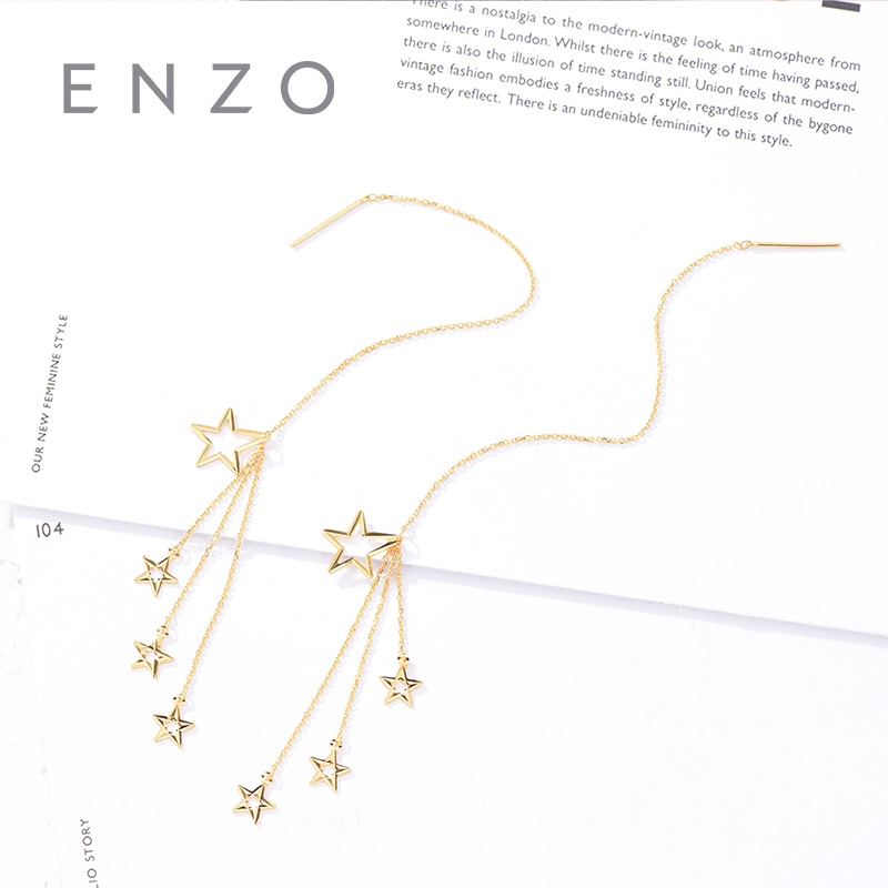 Enzo Real 18K Gold Earring Line Jewelry Women Miss Girls Gift Party Female Drop Earrings Star Solid Hot Sale New Good Trendy real 18k gold jewelry heart earring women miss girls gift party female ear wire drop earrings solid hot sale new good trendy