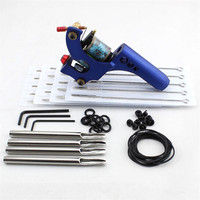 2017 Pro Complete Tattoo Machine Kit Set 1Pcs Aluminum Alloy Blue Rotary Tattoo Machine Gun With