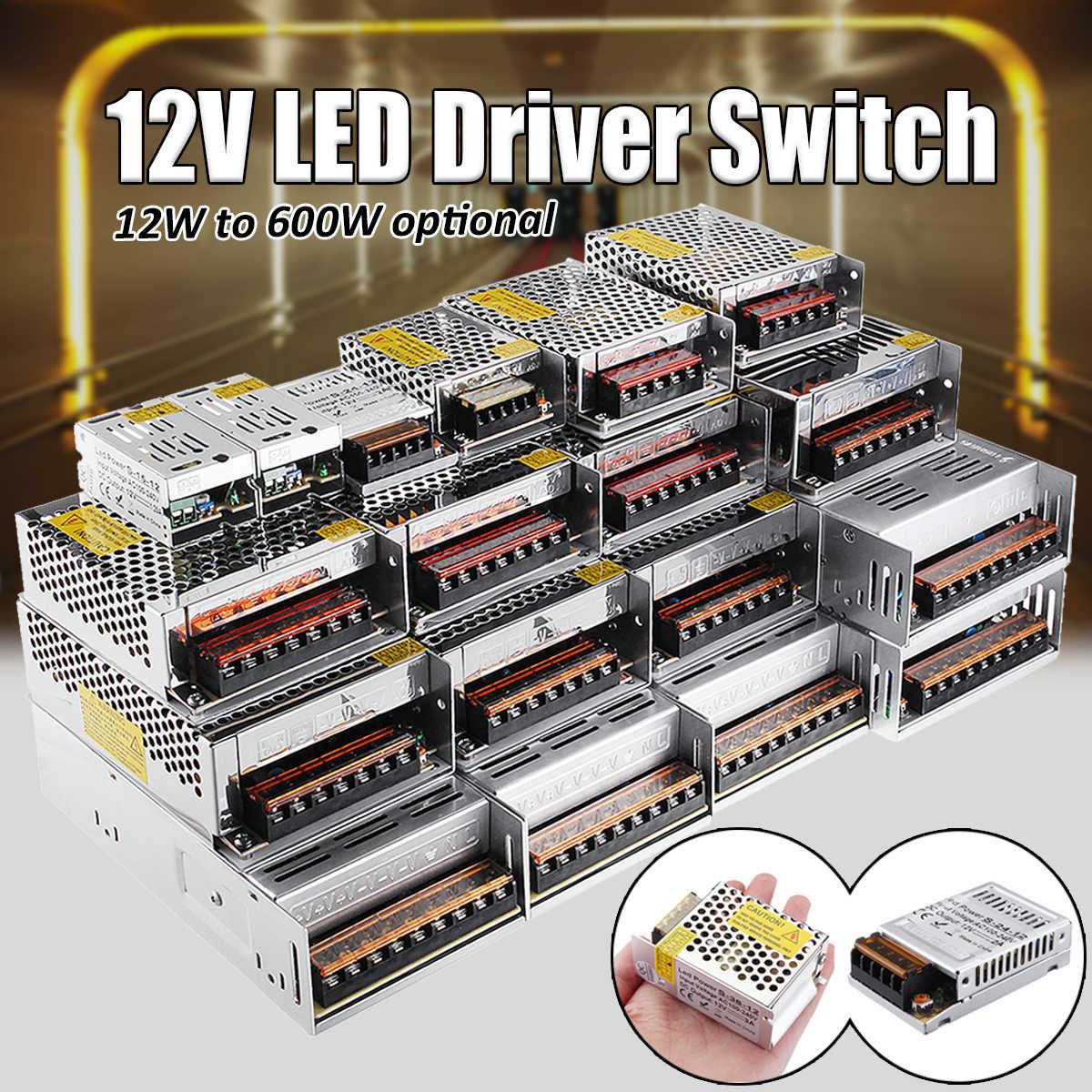 12 V 12/15/24/36/48/60/72/100/120/150/180/200/240/300/400 W импульсный источник Питание драйвер для Светодиодные ленты светодиодный адаптер