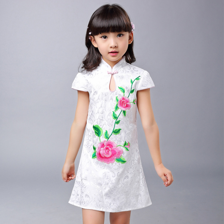 Hot Sale Embroidered Peony Pattern Chinese Traditional Dress Summer Prom Dress Girl Baby Dress