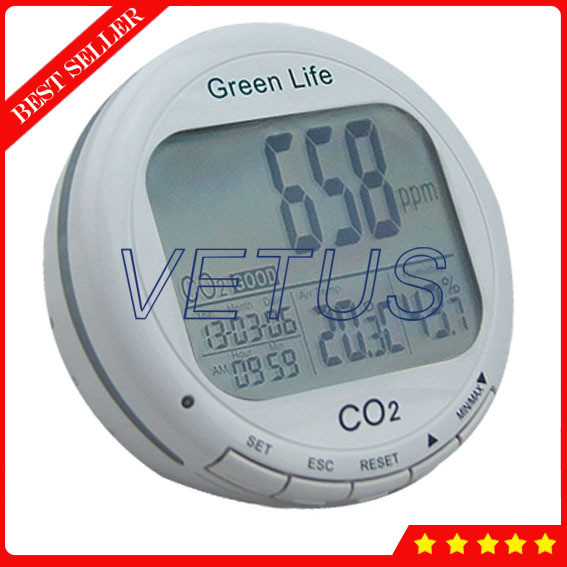 AZ7787 Digital desktop CO2 Meter with multifunction carbon dioxide Temperature Humidity Monitor tester detector Real time clock