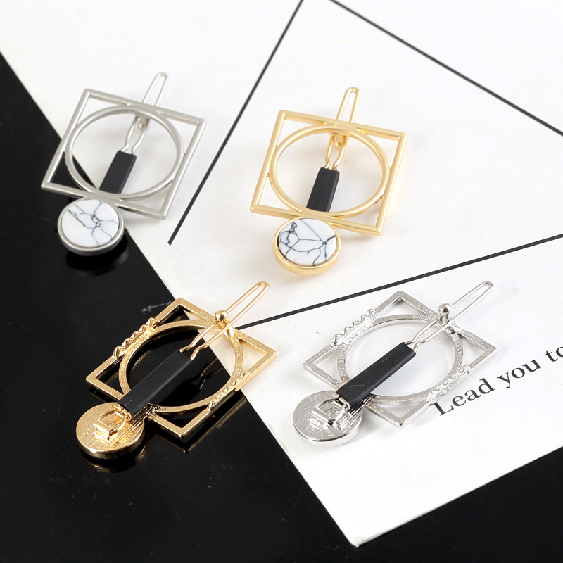 Simple Square Geometry Hairpins Metal Hair Clip Fashion Branded Design Women Bobby Pins Accessories Jewelry