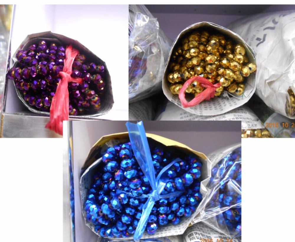 290pc 2 <font><b>string</b></font> <font><b>4</b></font> <font><b>mm</b></font> <font><b>bronze</b></font>, gold, blue ray ,purple ray Crystal Crystal faceted glass Beads jewelry diy