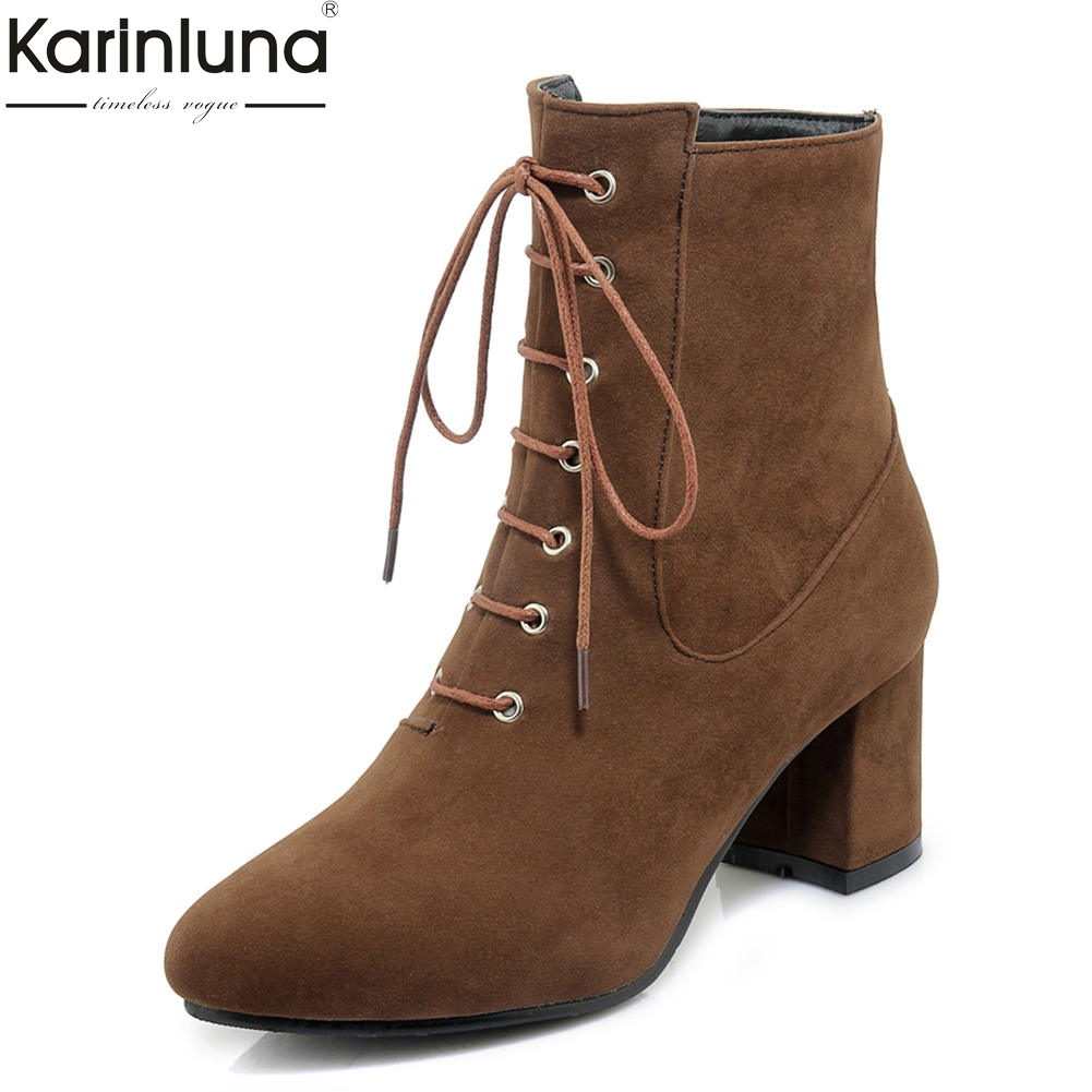 KarinLuna 2018 Plus Size 34-48 Dropship Zip Up Chunky Heels Ankle Boots Female Shoes Woman Add Fur Winter Boots цена