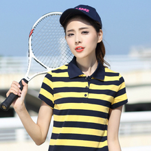 2017 Hot New Women Polo Shirts Women's Clothing Cotton Striped Short Sleeved POLO Shirt Plus Size Tops Female Ladies Slim Shirt