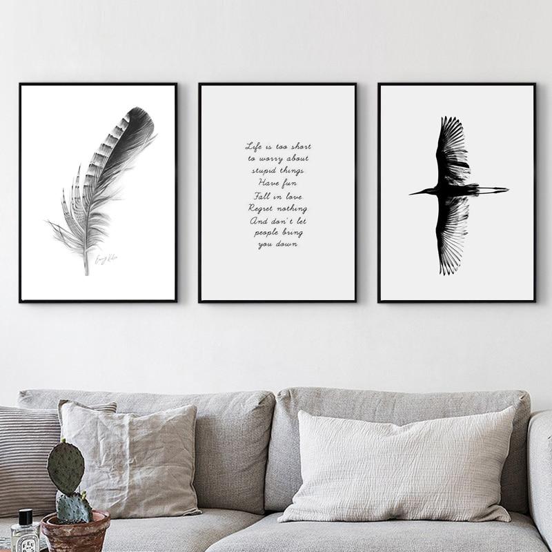 Photo plume affiche nordique papillon peinture murale Art affiche Vintage oiseau noir et blanc impression sur toile déco Maison sans cadre