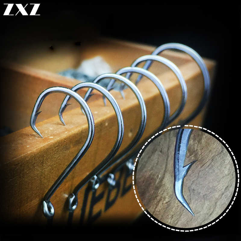 50pcs Big Original Fishing Hook #5/0 Crank Hooks Barbed Fishhook Tackle Fish Hook Spoon Single Sea Fishing Hooks Saltwater Super