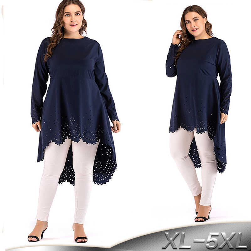 2019 5XL Abaya Dubai Arabic Long Sleeve Muslim Top Turkey Women Long Tops Saudi Ropa Musulmana Mujer Turkish Islamic Clothing