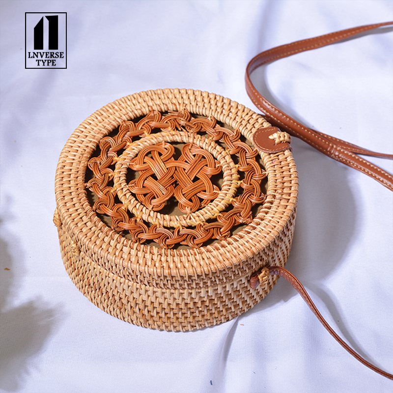Summer Bali Hand Woven Women Rattan Bag Round Shoulder Crossbody Bags Beach Straw Bag leather buckle 20x20cm straw Messenger bag in Shoulder Bags from Luggage Bags