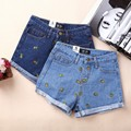 2016 spring and summer fashion pineapple embroidered shorts roll-up hem Casual blue denim shorts female Women short Jeans Z2279