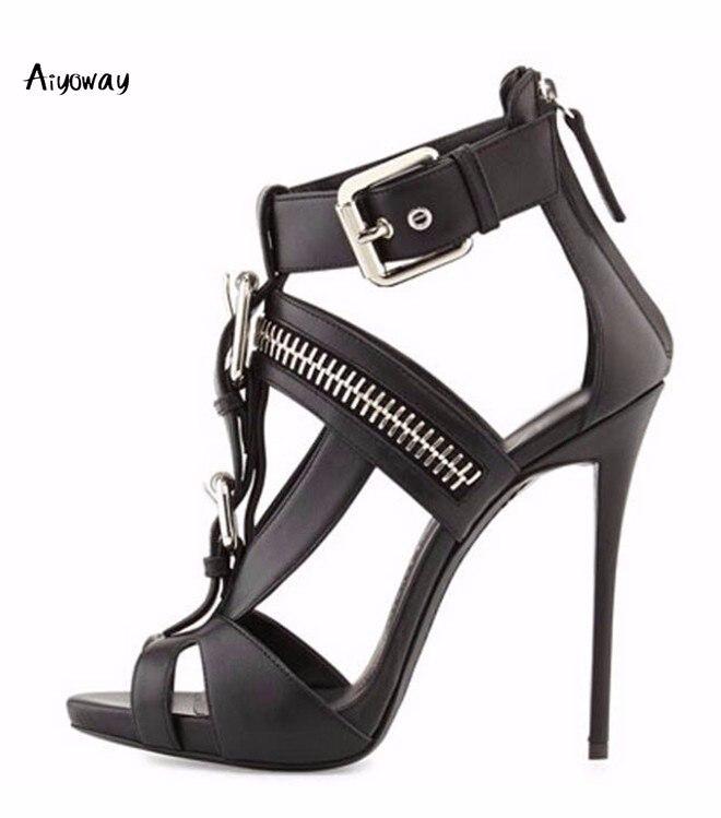 Zipper Blanc Dames Peep white Hauts Strap Boucle Toe Femmes Partie Sandales Talon Talons Chaussures Noir 2019 Black Aiyoway Printemps Couverture Été p7wBxqTwC
