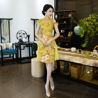 Novelty Summer Chinese Womens Mini Cheongsam Fashion Female Rayon Qipao Short Style Dress Vestidos Size S M L XL XXL XXXL 115940