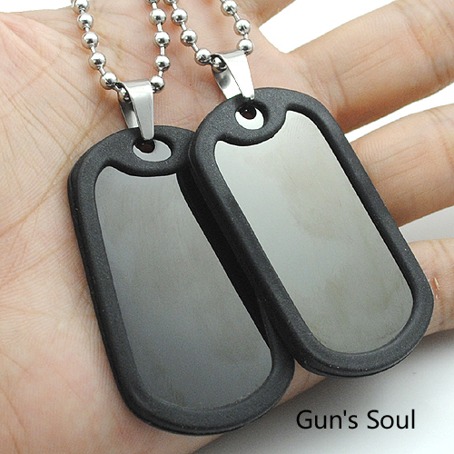 NIENDO Men's Military Army Stainless Steel Blank Double Dog Tag Necklace Charm Pendant Necklace Ball Chain LJP19