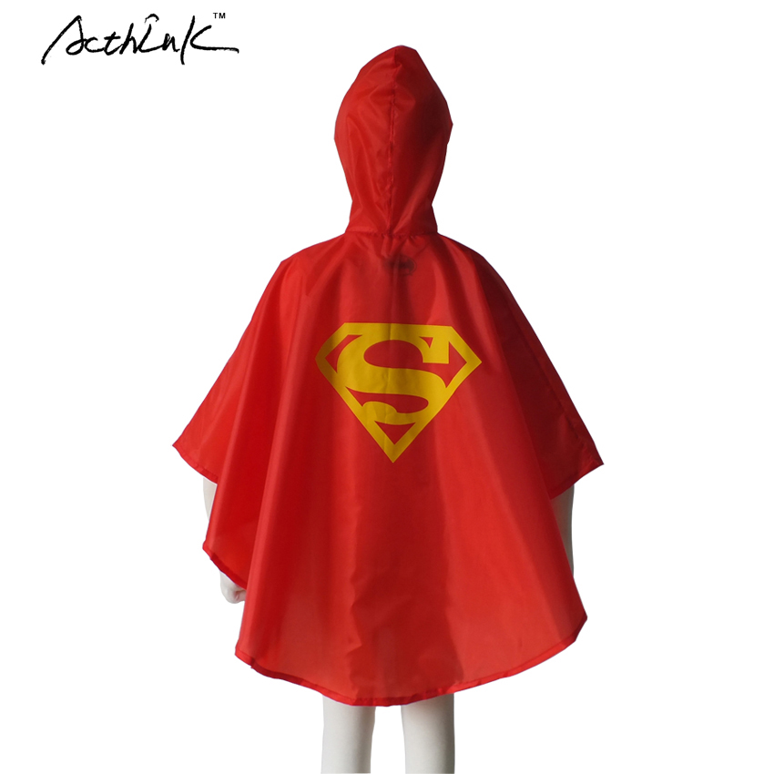 ActhInK Ny En Storlek Barn Superhero Raincoats Boys Superman / Spiderman / Batman Rain Coat Girls Supergirl Trech Coat, C288