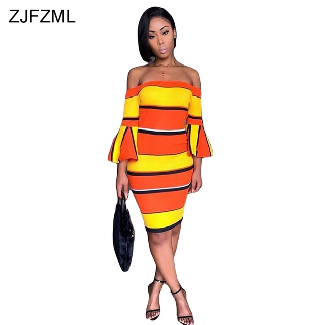b9515814b4fe Yellow Orange Stripe Sexy Bandage Dress Women Slash Neck Long Flare Sleeve  Bodycon Dress Casual off Shoulder Backless Mini Dress