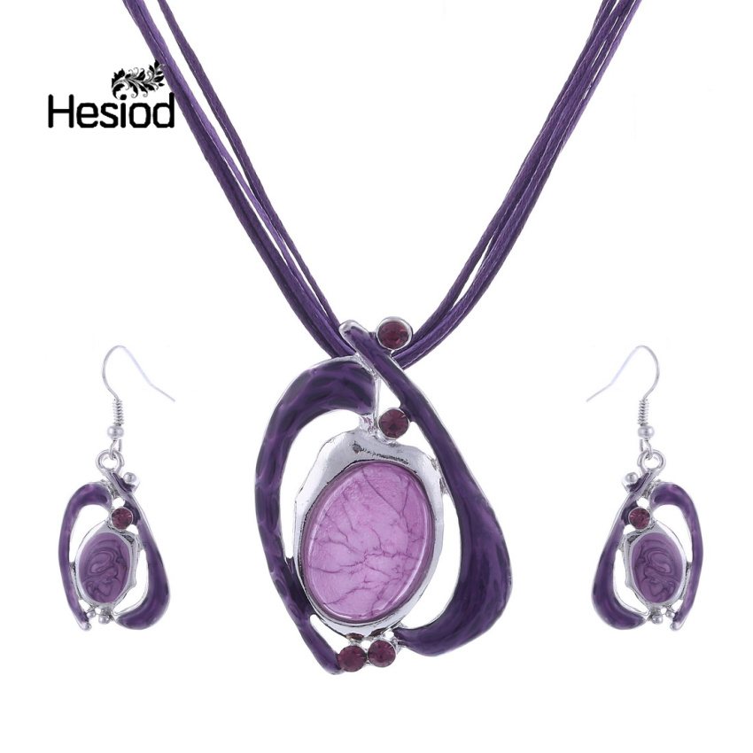 Hesiod Handmade High Quality Big Enamel Jewelry Sets Necklace and Earring Set Bijoux Femme African Necklace Sets Jewelery Set