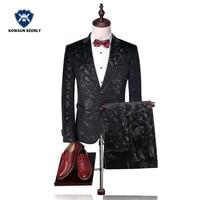Для мужчин Свадебный костюм с принтом пейсли цветочные черный смокинг Сценические костюмы для певица торжественное Slim Fit мужской костюм с Б