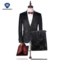 2017 Black Groom Wedding Suits For Men Slim Fit Casual Suits Formal Party Floral Blazer With