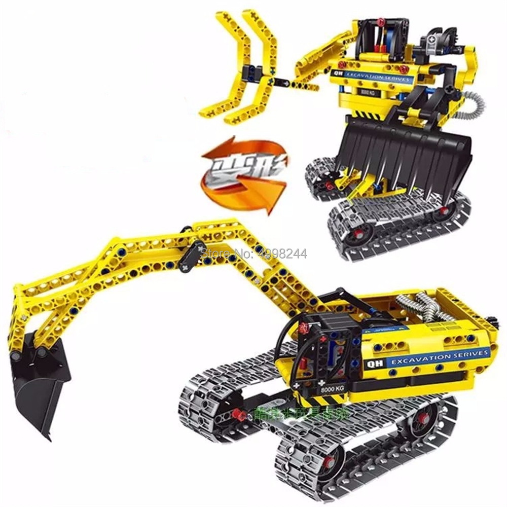 342Pcs 2In1 Technic Construction Engineering Excavator Building Blocks Bricks