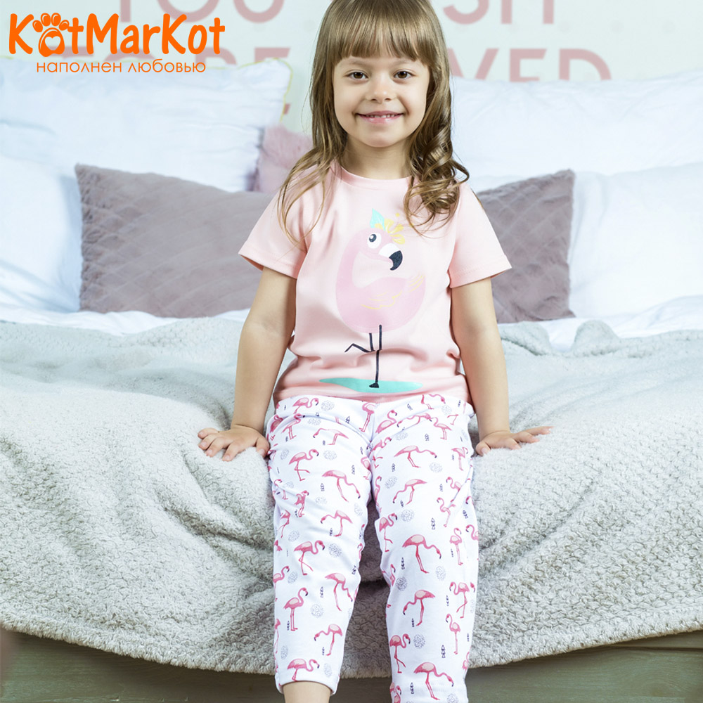 Pajama Sets Kotmarkot 16558 children's pajamas for boys and girls sleep t-shirt and shorts pajama pants Cotton Girls shein kiddie toddler girls letter print jumpsuit and floral print pants and headband long sleeve casual suit for girl sets