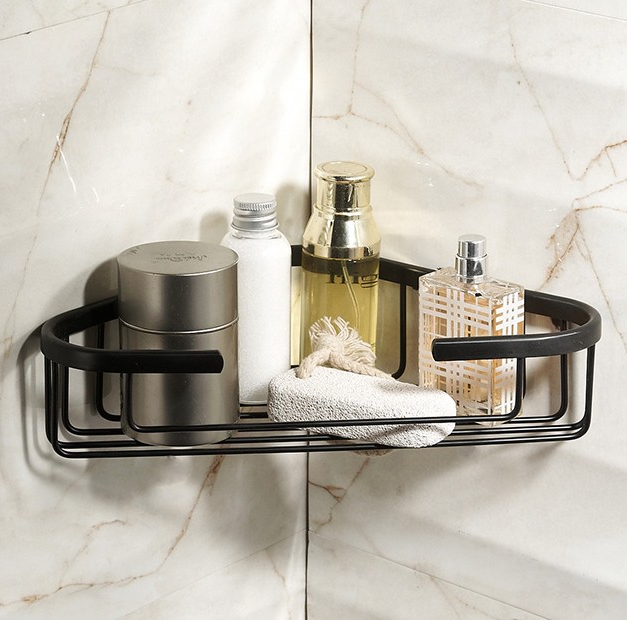 2016  Bathroom Accessories,Wall Mounted Strong Brass Antique Black Finish Shower Shelf &Shower Basket/Fashion Black Shelf shampoo holder wall mounted strong brass made and chrome finish single tier bathroom shelf shelves bathroom basket fe 8623