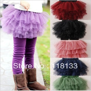 2013 spring girl tutu skirt child gauze skirt veil skirt Cake culottes girl leggings baby pantskirt
