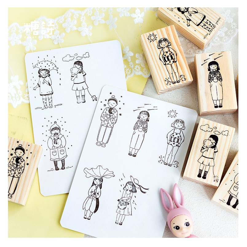 Cute Girl Good Weather Series Wooden Rubber Stamp Photo Album Scrapbooking Diary Craft Wax Seal Stamp Christmas Gift